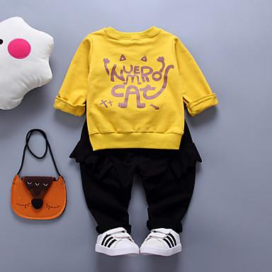 Bebelus Băieți Activ Sport Imprimeu Manșon Lung Bumbac Set Îmbrăcăminte / Copil