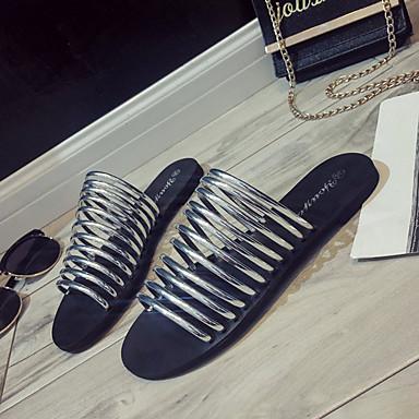 flops 06758406 Plateado Mujer Zapatillas flip Dorado Tacón Zapatos Plano Descubierto Verano y PU Talón 8qT7w8xAO
