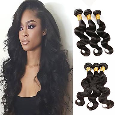 マレーシアンヘア カール / ウェーブ バージンヘア 人間の髪編む 6バンドル 8-30 インチ 人間の髪織り ホット販売 ブラック 人間の髪の拡張機能