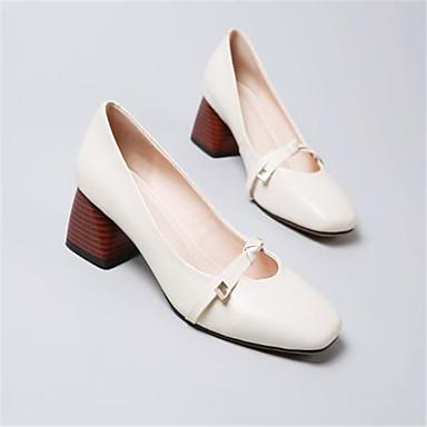 carré Talons Marron Bottier Printemps à Chaussures été Femme Talon Bout Cuir Confort Chaussures 06771011 Beige RxCwn0qP