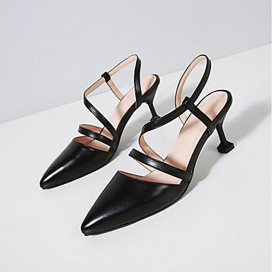 Pentru femei Pantofi Piele Vară Confortabili Sandale Toc Stilat Negru / Bej
