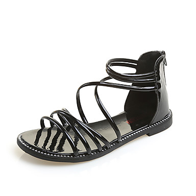 Pentru femei Pantofi PU Vară Confortabili / Pantofi pe Gleznă Sandale Toc Drept Vârf rotund Auriu / Negru / Argintiu / Party & Seară