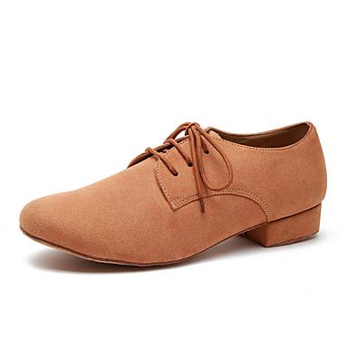 baratos Shall We® Sapatos de Dança-Homens Sapatos de Dança Microfibra Sapatos de Dança Moderna Rendado Têni Salto Grosso Preto / Camel / Verde Tropa / EU43