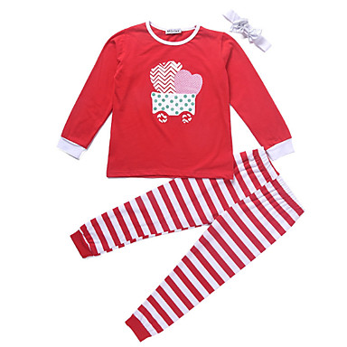Copil Fete Activ Imprimeu Manșon Lung Bumbac / Poliester Set Îmbrăcăminte Roșu-aprins