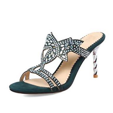 Sandales Vert Strass Polyuréthane Arrière Bout Véronèse Chaussures Talon Printemps Femme 06770498 Noir été Amande Aiguille A Bride ouvert 0w6nAq