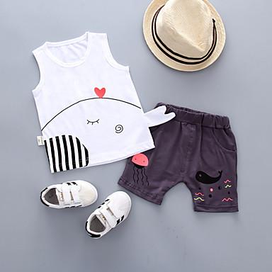 Bebelus Băieți Vintage Negru & Roșu Mată / Geometric Plisată Manșon scurt In Set Îmbrăcăminte / Copil