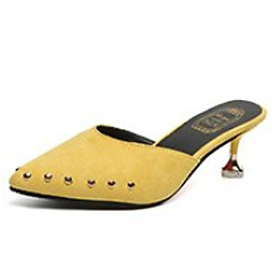 Mujer Kitten Verano y pantuflas Rosa Confort PU Zuecos Tacón 06751998 Zapatos Negro Amarillo rq6w8rp