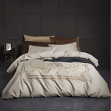 Duvet Cover Sets Luxury / Contemporary 100% Cotton / 100% Egyptian Cotton Embroidery 4 PieceBedding Sets / 300 / 4pcs (1 Duvet Cover, 1 Flat Sheet, 2 Shams)
