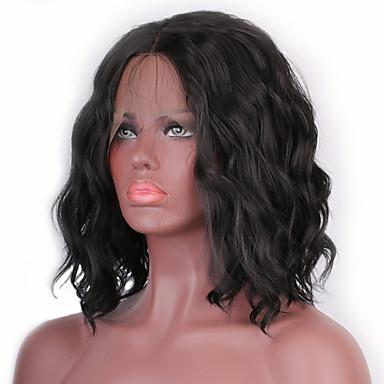 Χαμηλού Κόστους Συνθετικές περούκες με δαντέλα-Συνθετικές μπροστινές περούκες δαντέλας Ίσιο / Κυματιστό Στυλ Κούρεμα καρέ Δαντέλα Μπροστά Περούκα Καφέ Μαύρο Συνθετικά μαλλιά Γυναικεία με τα μαλλιά μωρών / Ανθεκτικό στη Ζέστη / Μεσαίο καρέ Καφέ