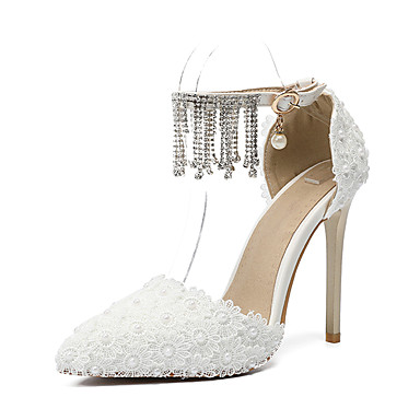 cheap Wedding Shoes-Women's Shoes PU(Polyurethane) Fall & Winter D'Orsay & Two-Piece Wedding Shoes Stiletto Heel Pointed Toe Rhinestone / Buckle / Tassel White / Party & Evening