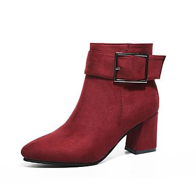 Pentru femei Pantofi Piele de Căprioară Iarnă Confortabili Cizme Toc Îndesat Negru / Gri / Rosu