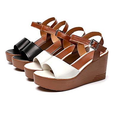 Blanco Primavera verano Tira PU Cuña Negro Sandalias Hebilla el Tobillo Mujer Tacón 06766363 en Zapatos w4f7AA