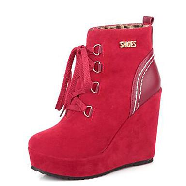 voordelige Dameslaarzen-Dames Laarzen Sleehak Ronde Teen Gesp / Kwastje Suède Korte laarsjes / Enkellaarsjes Modieuze laarzen Herfst winter Zwart / Geel / Rood