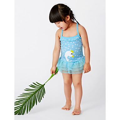 baratos Roupas de Banho para Meninas-Bébé Para Meninas Activo Praia Geométrica Estampado Sem Manga Roupa de Banho Azul