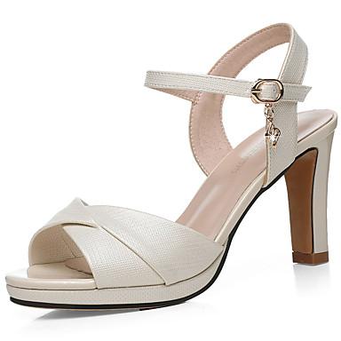 Pentru femei Pantofi Imitație Piele Primavara vara Gladiator / Balerini Basic Sandale Toc Îndesat Alb / Bej / Party & Seară