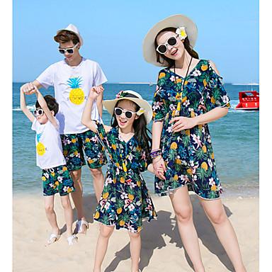 Copii Familie Uite Ananas Floral / Fruct Manșon scurt Set Îmbrăcăminte