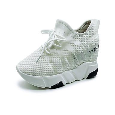 Pentru femei Tul Primavara vara Confortabili Adidași Toc Platformă Alb / Negru