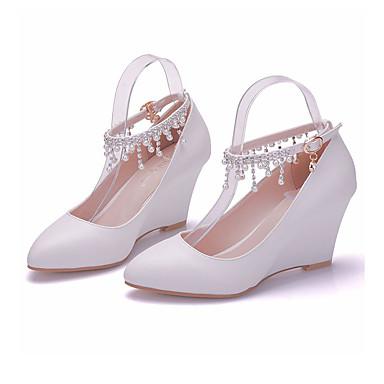 compensée semelle pointu hiver Cheville Bout Chaussures Femme 06726173 Perle Hauteur de Bride de de Polyuréthane Automne Chaussures mariage HwRZ4xqO