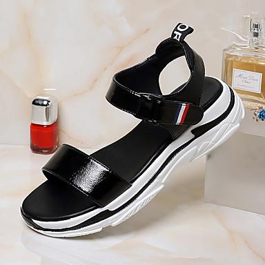 Evénement Femme Soirée amp; Talon Noir Polyuréthane Plat Chaussures Blanc Boucle ouvert Eté Sandales 06766290 Bout Confort OB6qf