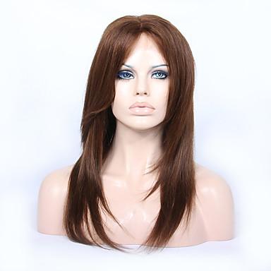 abordables Perruques Naturelles Dentelle-Perruque Cheveux Vierges Naturel Full Lace Lace Frontale Cheveux Brésiliens Droit Coupe Dégradée Partie médiane Partie libre 130% 150% avec des cheveux de bébé Perruque afro-américaine Glueless