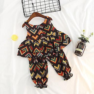 Bebelus Fete Imprimeu Fără manșon Set Îmbrăcăminte