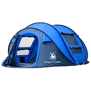ieftine Campare, Drumeții & Plimbare-HUILINGYANG 4 persoane Cort pop up În aer liber Impermeabil Rezistent la Vânt Pliabil Cu un singur strat Automat Dom Cort de campare 2000-3000 mm pentru Drumeție Camping Sticlă Fibroasă Oxford