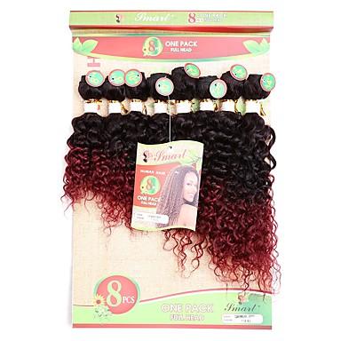 Laflare Inslag haarweefsel Extensions van echt haar Gekruld Echt haar Ombre Bundle Hair Extentions van mensenhaar Braziliaans haar Meerkleurig 8 stuks Geweven nieuwe collectie Hot Sale Dames Zwart