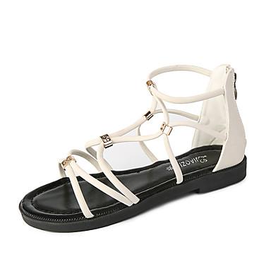 Pentru femei Pantofi PU Vară Confortabili Sandale Toc Drept Vârf rotund Cataramă Alb / Negru