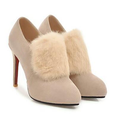Femme Talon Escarpin pointu Talons 06770525 Chaussures Beige Chaussures Basique Automne hiver Aiguille Noir à Bout Daim rngrxaqU