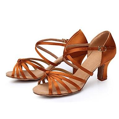 Tirer pleineHommes t parti des matériaux——Femme Chaussures Talon Latines Satin Talon Chaussures Talon Cubain Personnalisables Chaussures de danse Brun Foncé 8dd9a2
