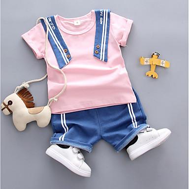 Bebelus Băieți Activ / De Bază Zilnic / Sport Mată Manșon scurt Regular Bumbac Set Îmbrăcăminte Alb 100 / Copil