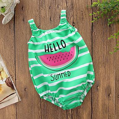 baratos Roupas de Banho para Meninas-Infantil Para Meninas Activo Para Noite Praia Estampado Fruta Estampado Sem Manga Roupa de Banho Verde