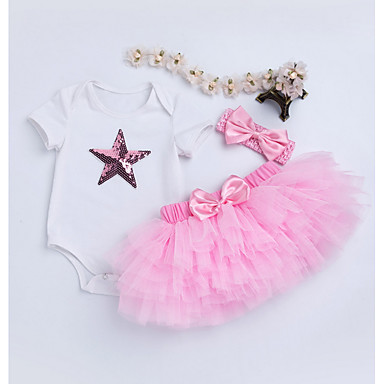 Bebelus Fete Șic Stradă Concediu Bloc Culoare Manșon scurt Bumbac Set Îmbrăcăminte / Copil