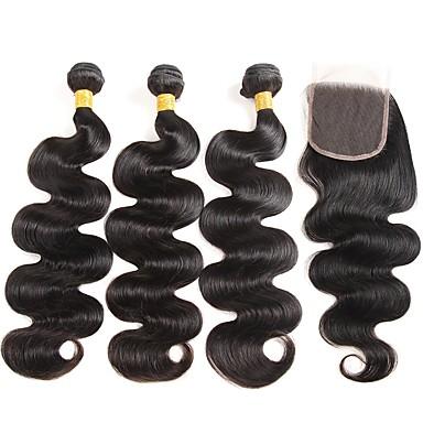 baratos Extensões de Cabelo Natural-3 pacotes com fechamento Cabelo Peruviano Ondulado 8A Cabelo Humano Um Pacote de Solução Côr Natural Tramas de cabelo humano extensão Extensões de cabelo humano Mulheres