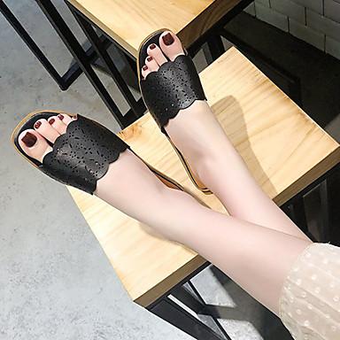 Tacón Mujer flip 06729588 Zapatos Blanco Plano Talón Descubierto flops PU y Zapatillas Negro Verano zazUpq1nr