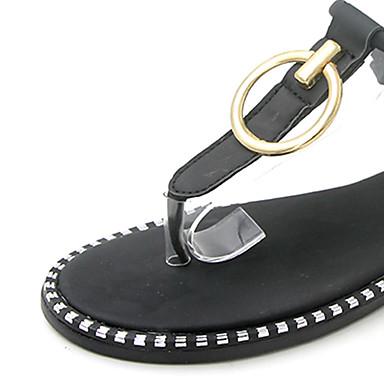 Talón Mujer Verde 06725937 Zapatos Sandalias Verano Negro Descubierto Tacón PU Plano fr7ftwvqn