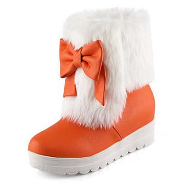 hiver Bottine Hauteur Botte rond Rouge compensée 06770483 semelle de Bottes Orange Demi Bottes de Polyuréthane Chaussures Automne Femme Bout neige Noeud Noir q8wt6Ca