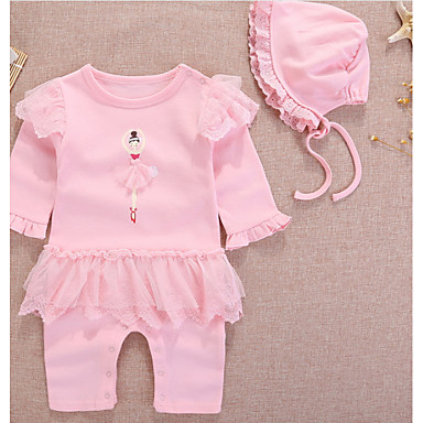 2013123b409 Baby Girls  Basic Daily Solid Colored   Color Block Ruffle   Printing    Basic Long