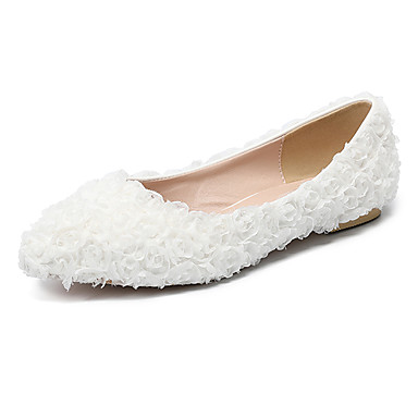 Soirée Automne pointu Chaussures Blanc Polyuréthane mariage Chaussures hiver Rose de Evénement Plat Satin Bout amp; Femme été Talon Fleur Printemps en Confort Mariage 06760938 IRqfwFF4O