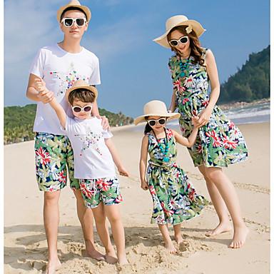 Familie Uite Floral Manșon scurt Set Îmbrăcăminte