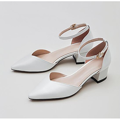 Women's Shoes Nappa Leather Summer Comfort Heels Chunky Heel Closed Pink Toe Buckle White / Pink Closed / Almond 4f60e2