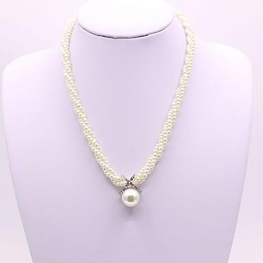 povoljno Modne ogrlice-Žene Ogrlice s privjeskom Long XOXO dame Klasik Moda Imitacija bisera Umjetno drago kamenje Obala 41+5 cm Ogrlice Jewelry 1pc Za Dnevno