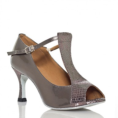baratos Shall We® Sapatos de Dança-Mulheres Sapatos de Dança Cetim Sapatos de Dança Latina Lantejoulas Têni Salto Alto Magro Preto / Cinzento Prateado / Vermelho / Ensaio / Prática