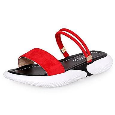 Pentru femei Pantofi PU Vară Pantof cu Berete Sandale Toc Drept Negru / Rosu / Roz