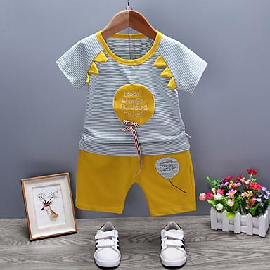 Bebelus Băieți Activ Sport Dungi Manșon scurt Bumbac Set Îmbrăcăminte / Copil