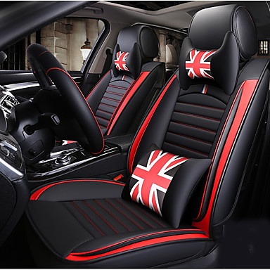 ODEER Car Seat Cushions Covers Black Red Artificial Leather Common For Universal All Years