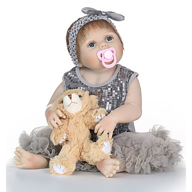 NPKCOLLECTION MUÑECA NPK Muñecas reborn Muñeca chica Bebés Niñas 24 pulgada Cuerpo completo de silicona Vinilo - natural Regalo Segura para Niños Non Toxic Implantación artificial Ojos azules Clavos