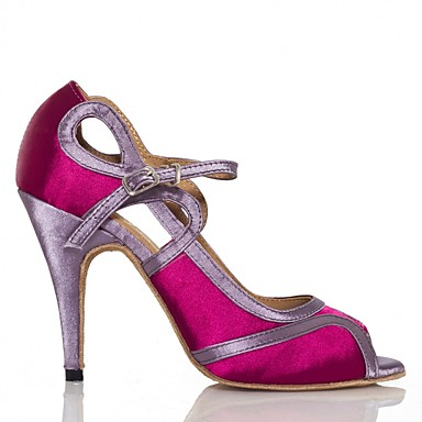 baratos Shall We® Sapatos de Dança-Mulheres Cetim Sapatos de Dança Latina Lantejoulas Têni Salto Alto Magro Branco / Fúcsia / Ensaio / Prática