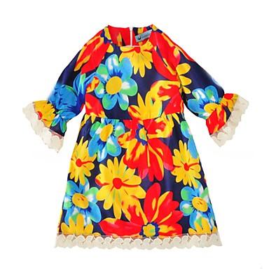 baratos Vestidos para Meninas-Infantil Para Meninas Doce Diário Feriado Floral Renda Frufru Com Transparência Manga Curta Altura dos Joelhos Vestido Arco-íris / Algodão