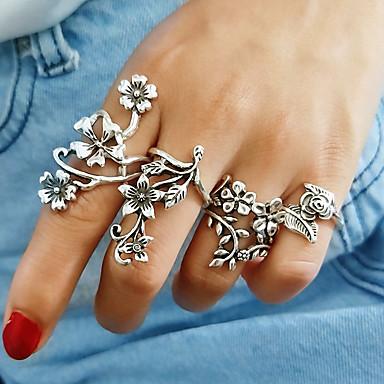 voordelige Dames Sieraden-Dames Bandring Ringen Set 4pcs Zilver Legering Dames Vintage Europees Dagelijks Sieraden Hol Bloem